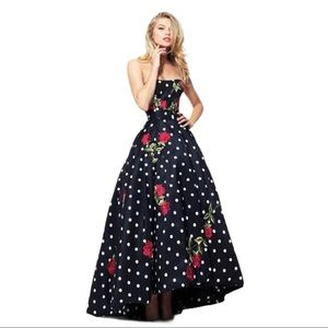Sherri Hill 50945 Polka Dot & Flower Audrey Gown